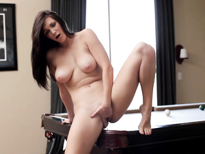 Busty Holly Michaels gets on the billiard table