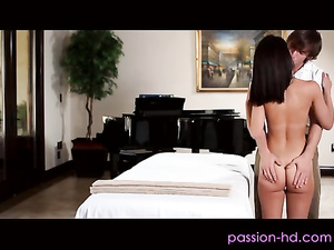 Frisky small titted doll doggy and top fuck