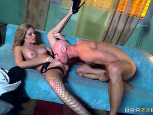 Steaming hot blonde exciting her bald fucker with blowjob