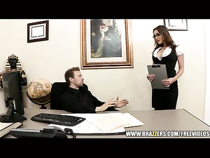 Brunette in glasses is getting fucked in the ass in office