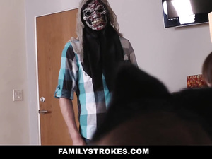 Naughty guy was going to scare his stepsisters and got pleased with tight blowjob