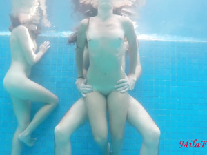 Slender shaped chicks are having passionate fuck in the pool