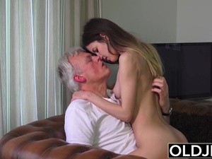 Slutty young brunette babe seduces and fucks mature man