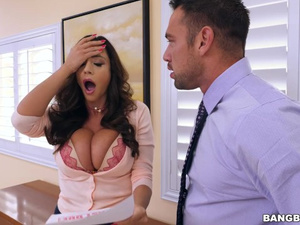 Burning hot brunette babe Ariella Ferrera does deep blowjob and fucks in office