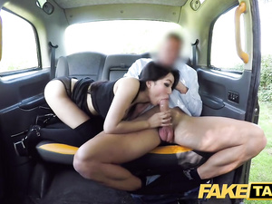 Young Japanese chick Rae Lil Black enjoys sucking and riding big white dick in taxi