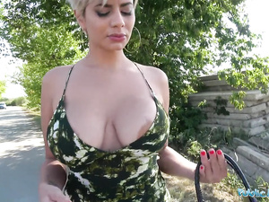 Hot looking blonde slut gets paid for fucking with stranger outdoors