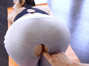 Awesome hot young brunette chick got her leggings torn on crotch and being fucked
