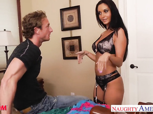 Skinny brunette milf with swinging boobs Ava Addams loves young big dick